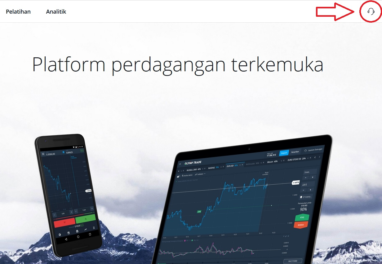 Buka chatbox dengan tim support Olymp Trade