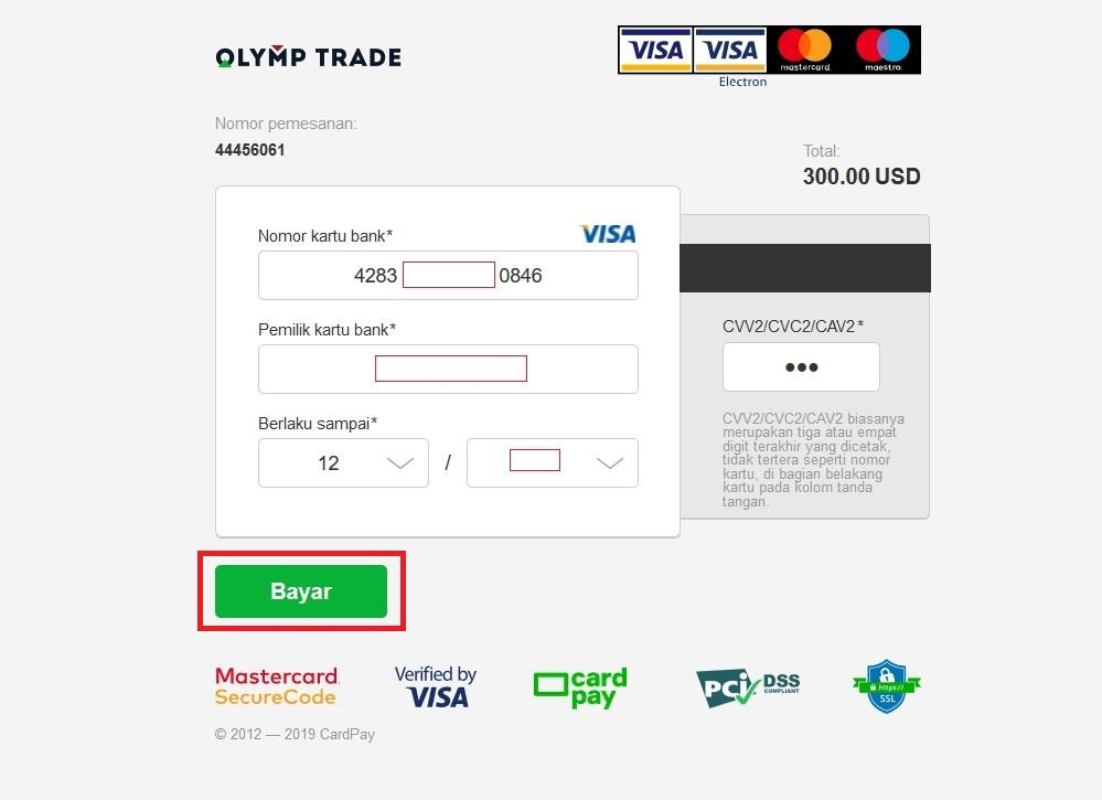 Isi informasi kartu Visa / Mastercard dan klik Pay