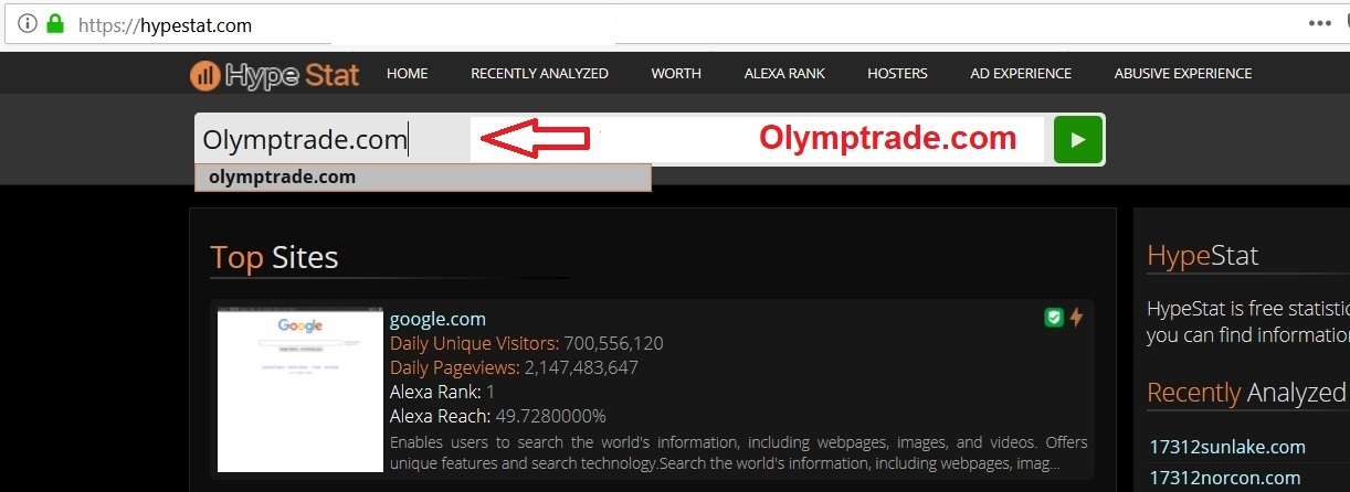 Mengecek Olymptrade.com