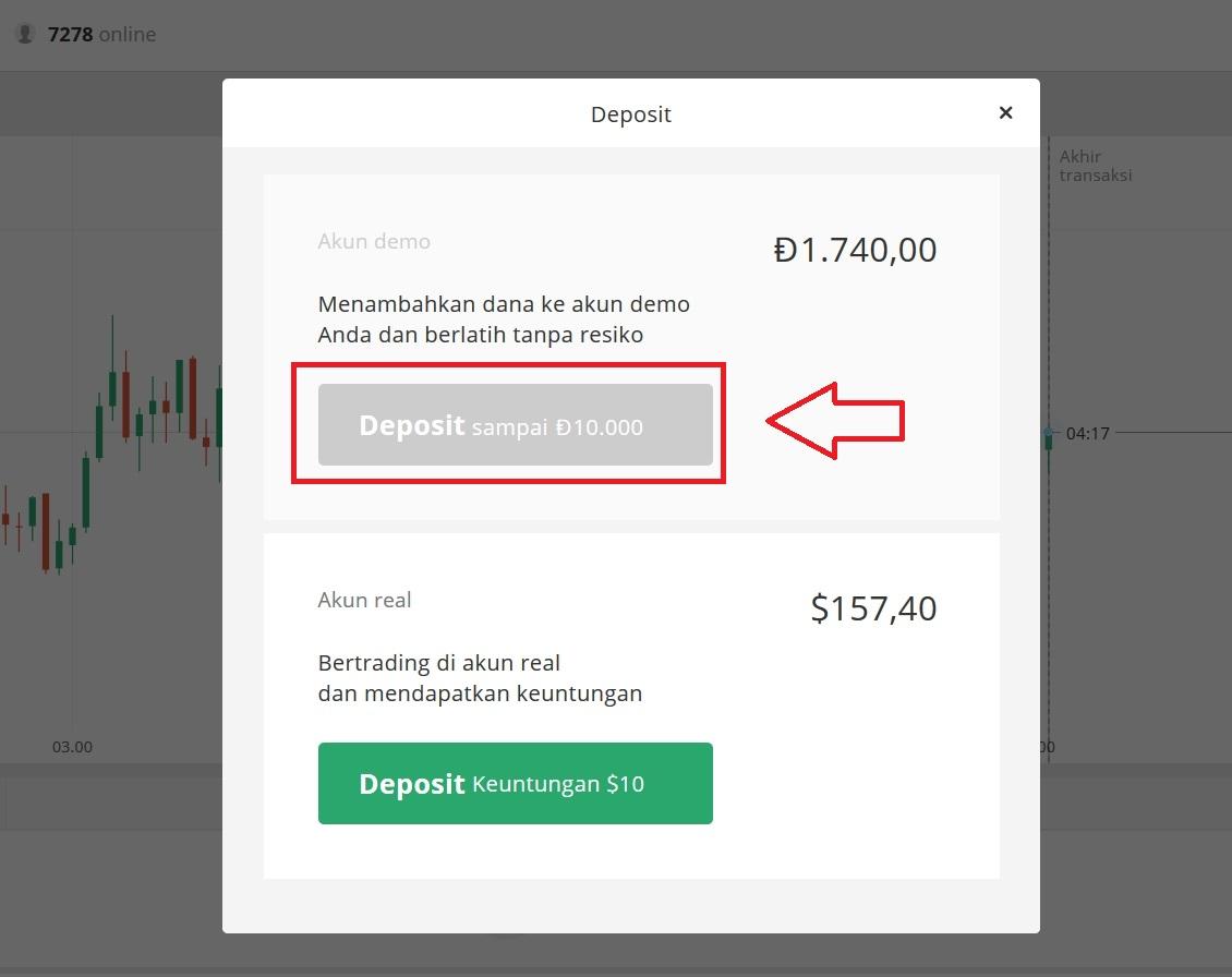Panduan cara mengisi uang ke akun Demo Olymp Trade dalam 2 langkah
