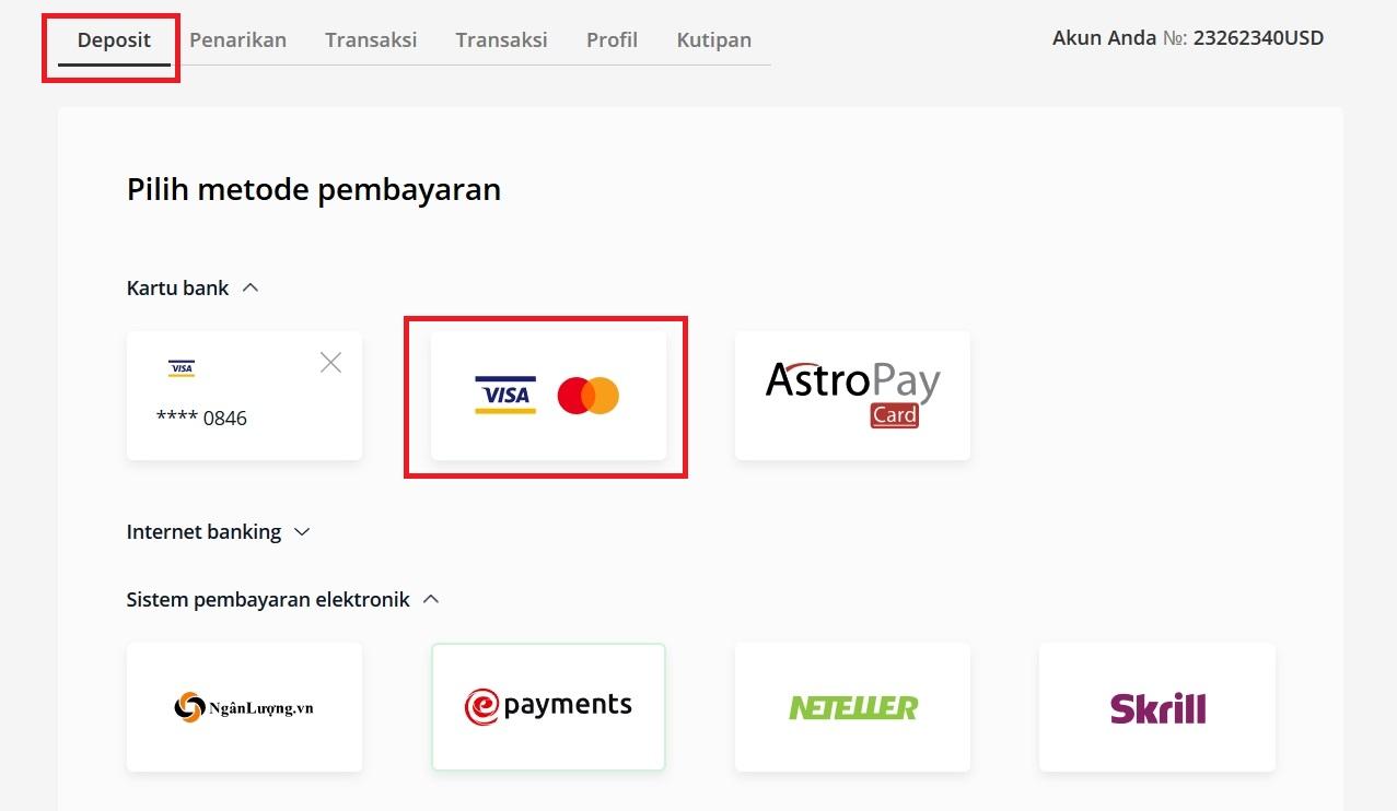 Pilih metode pembayaran di Olymp Trade